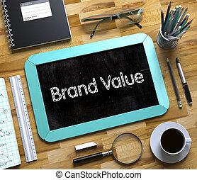 márka, becsül, képben látható, kicsi, chalkboard., 3d.