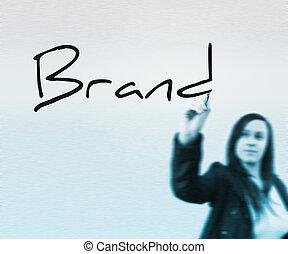 márka, szó, írott, által, üzletasszony