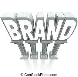 márka, szó, márvány, oszlop, trusted, tartós, hírnév