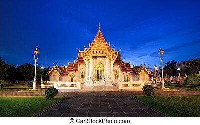 mármol, bangkok, noche, templo, tailandia
