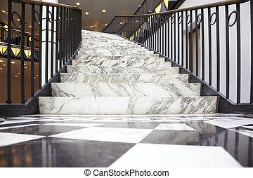 mármol blanco, escalera