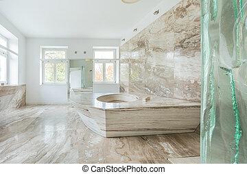 mármol, cuarto de baño, en, costoso, casa