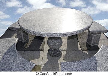 mármol, tabla, y, sillas