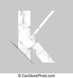 mármore branco, k, fundo, logotipo, cinzento, letra