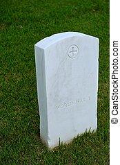 mármore branco, militar, estilo, lápide, ou, gravestone