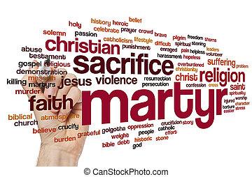 mártir, palabra, nube