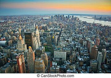 más bajo, aéreo, encima, york, nuevo, manhattan, vista