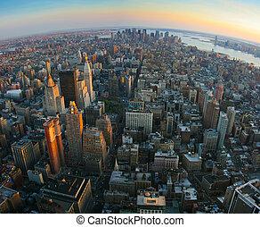 más bajo, encima, york, nuevo, manhattan, fisheye, vista
