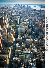 más bajo, encima, york, nuevo, manhattan, vista
