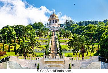 más bajo, haifa, centro, terrazas, bahai, santuario, bab, mundo