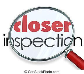 más cerca, investigación, espejo, hechos, inspección, aumentar