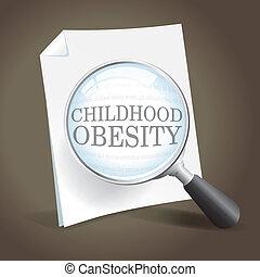 más cerca, toma, obesidad, mirada, niñez