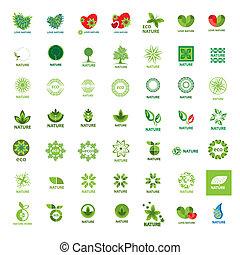 más grande, colección, de, vector, logotipos, eco, y, naturaleza