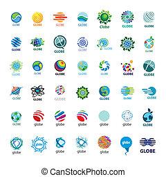 más grande, logotipos, globo, vector, colección