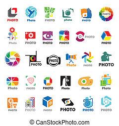 más grande, logotipos, vector, colección, fotógrafo