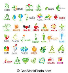más grande, logotipos, vector, salud, colección