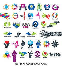 más grande, manos, vector, colección, iconos
