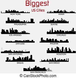 más grande, norteamericano, conjunto, contornos, ciudades