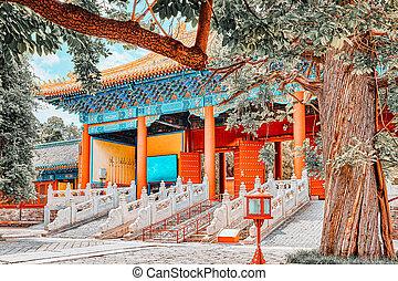 más grande, templo, beijing, china., confucius, confuciano, ...