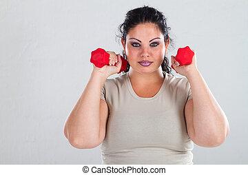 más, hembra, ejercicio, tamaño
