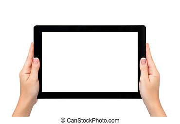 más tiempo, tableta, marco, aislado, hembra entrega,...