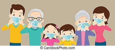 máscara, bandera, grande, copia, familia , quirúrgico, llevando, espacio, prevenir, covid-19, virus