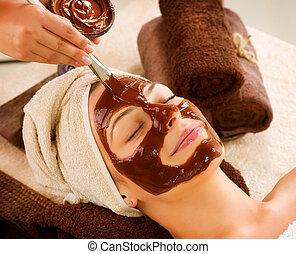 máscara, belleza, chocolate, spa., salón, facial, balneario