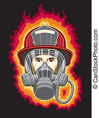 máscara, bombero, llamas