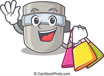 máscara, caricatura, carácter, soldadura, compras, rico, ...