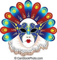 máscara, carnaval, aislado