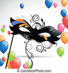 máscara carnaval, e, balões