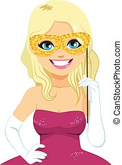 máscara carnaval, loiro, mulher