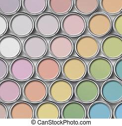 máscara clara, cor, lata pintura, latas