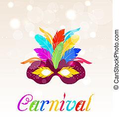 máscara, coloridos, texto, penas, carnaval