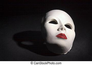 máscara, com, sombra