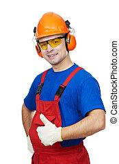 máscara, constructor, gas, gafas de protección, hardhat, orejeras