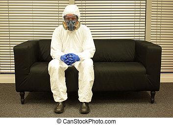 máscara, cuarentena, profesional, ropa, sentado, guantes, ...