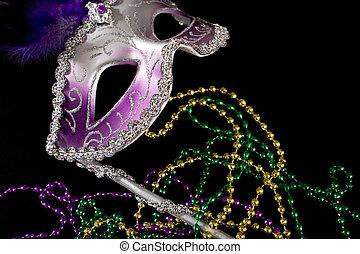 máscara, cuentas, carnaval