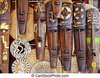 máscara de madera, maya, handcrafts, azteca, indio