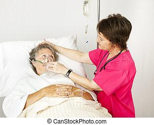 máscara de oxígeno, en el hospital
