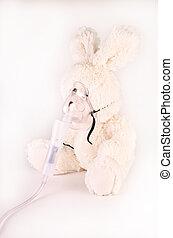 máscara de oxígeno, y, conejo