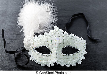 máscara del carnaval, en, fondo negro