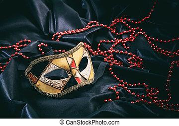 máscara del carnaval, en, negro, raso, plano de fondo