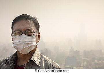 máscara desgastando, contra, ar, boca, asian tripulam, poluição
