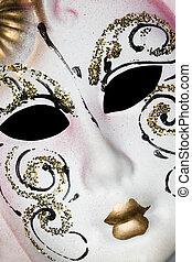 máscara, diagonal, padrões, veneziano, branca, mentindo