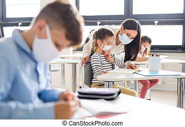 máscara, espalda, cuarentena, grupo, cara, lockdown., escuela, después, covid-19, niños