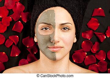 máscara, facial, arcilla