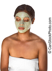 máscara facial, ligado, menina preta