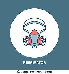 máscara gás, respirador, linha plana, icon., vetorial, logotipo, para, pessoal, equipamento protetor, store., saúde, proteção, magra, linear, sinal