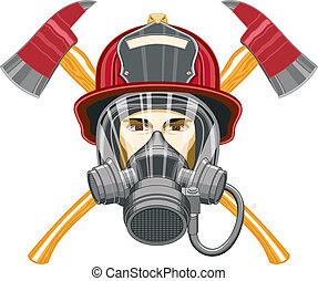 máscara, hachas, bombero